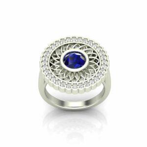 Gazania Flower Halo Engagement Ring