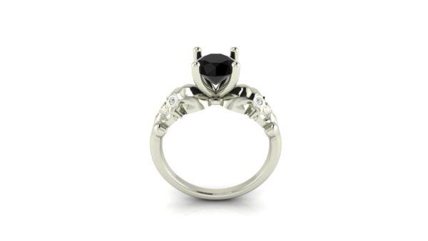 Black Diamond Skull Engagement Ring