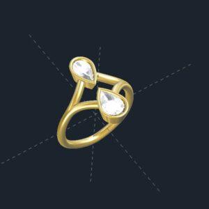 2 stone bezel set ring