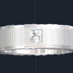 Brushed Diamond Men's Wedding Ring