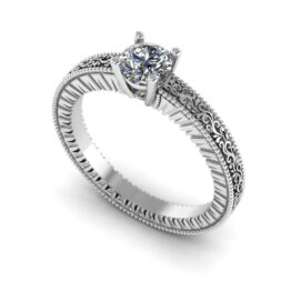 Scrolled Solitaire Engagement Ring