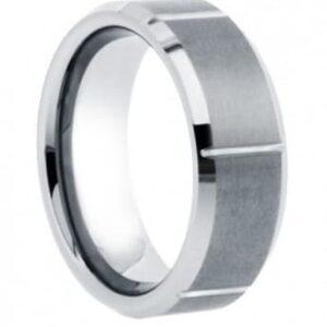 Notched Tungsten Wedding Ring