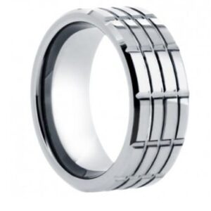 Grooved Tungsten Wedding Ring