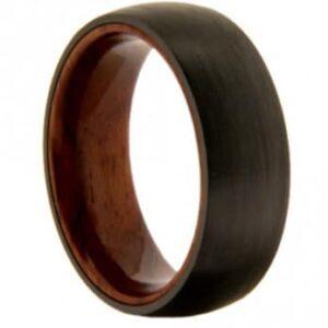 Wood Inlay Tungsten Wedding Ring
