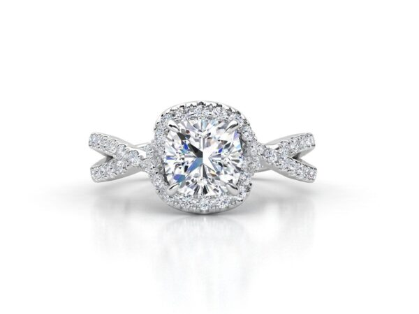 Overlapping Halo Engagement Ring