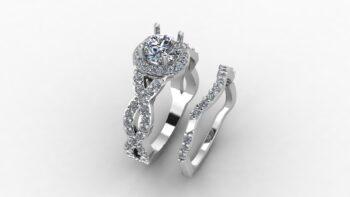 Infinity Halo Engagement Ring Set