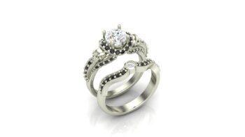 Skull Engagement Ring Set