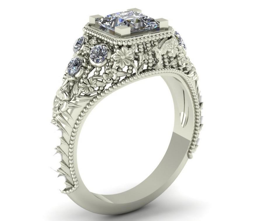 Art Deco Flower Diamond Ring