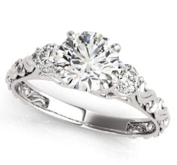 Art Deco 3 Stone Engagement Ring