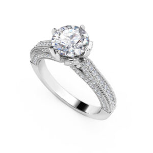 Floral Cathedral Engagement Ring