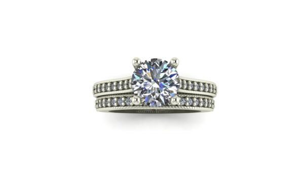 Milgrained Cathedral Engagement Ring