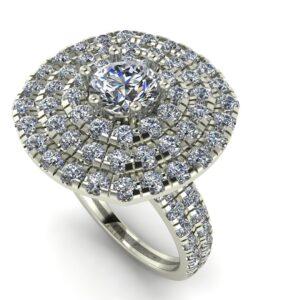 triple halo engagement ring