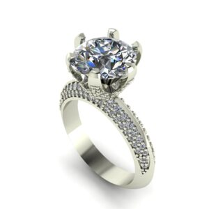 6 Prong Pave Engagement Ring