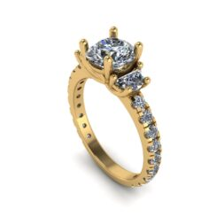 Half Moon 3 Stone Engagement Ring