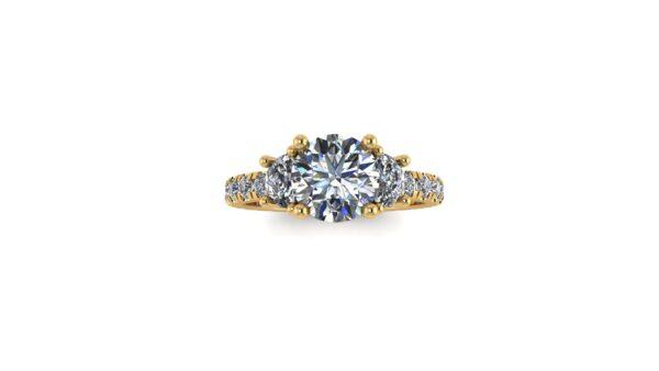 Half Moon 3 Stone Engagement Ring