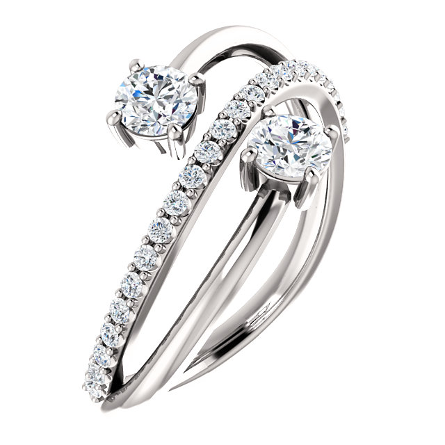 2 Stone Bypass Engagement Ring