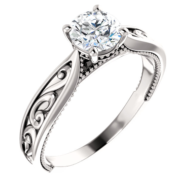 Milgrained Cathedral Solitaire Engagement Ring