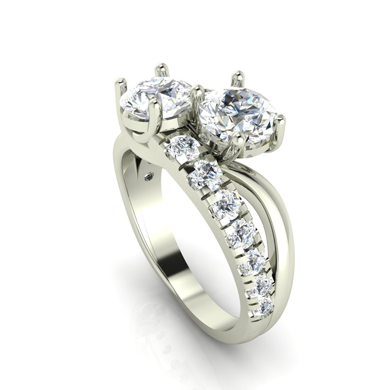 Forever One Moissanite Engagement Rings -Graduated 2 Stone Engagement Ring