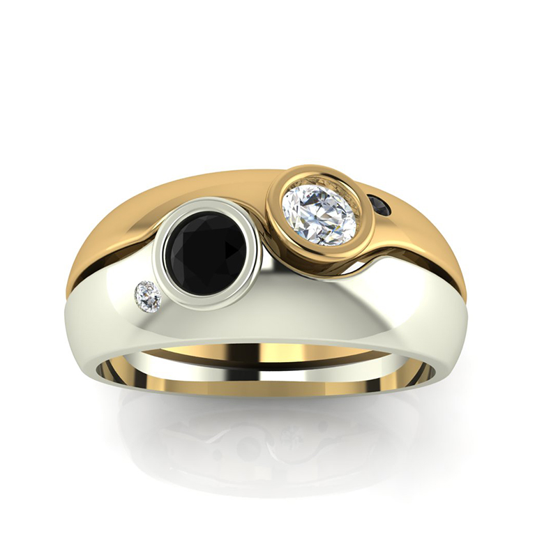 2 Tone Diamond Wedding Ring