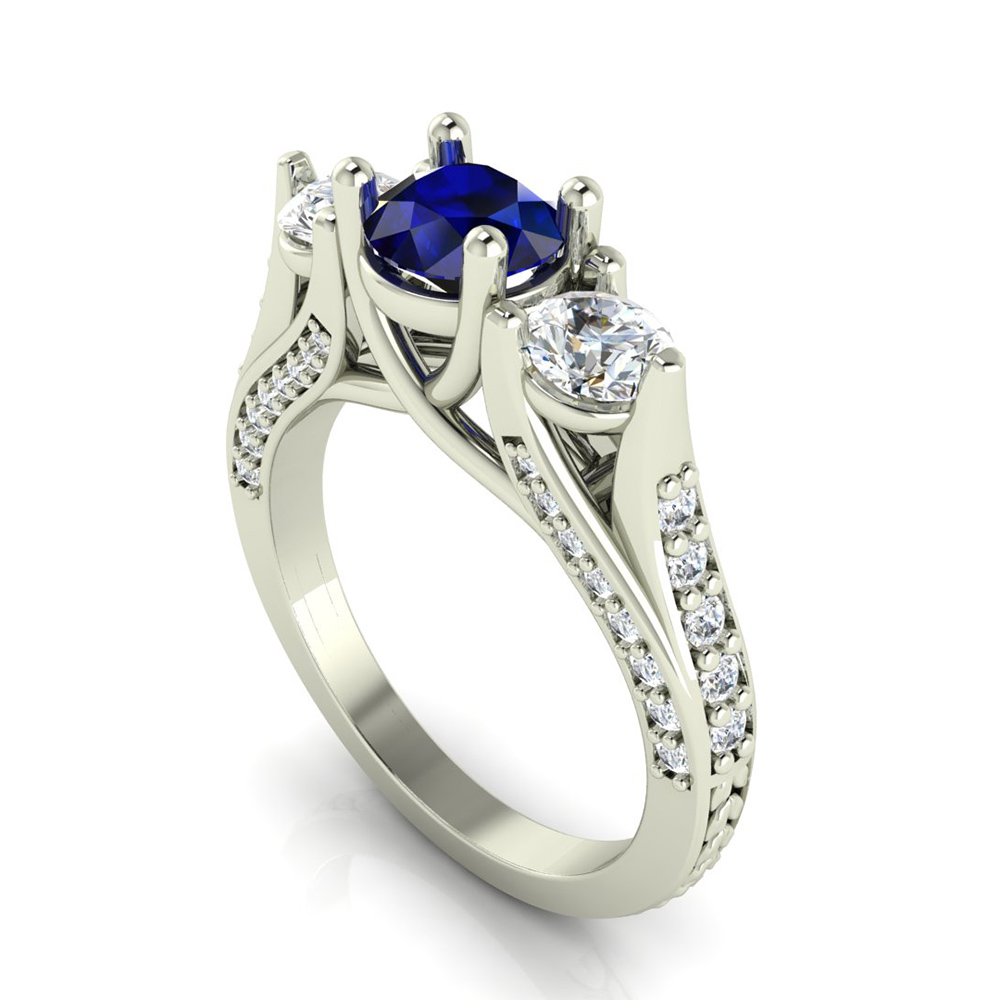 Sapphire 3 Stone Engagement Ring