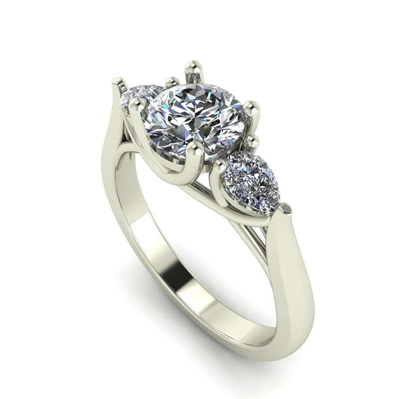 Mixed Cut 3 Stone Engagement Ring