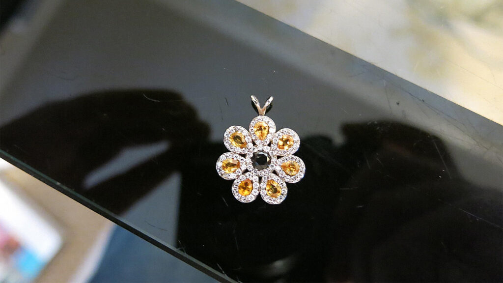 Diamond & Gemstone Sunflower Pendant