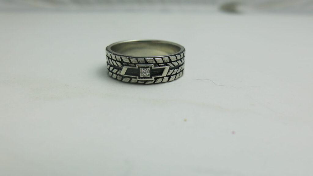 Diamond Tire Tread Wedding Ring