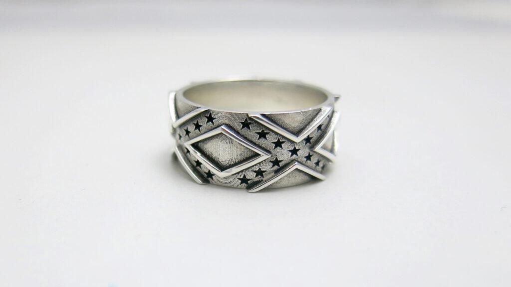 Stars and Bars Wedding Ring