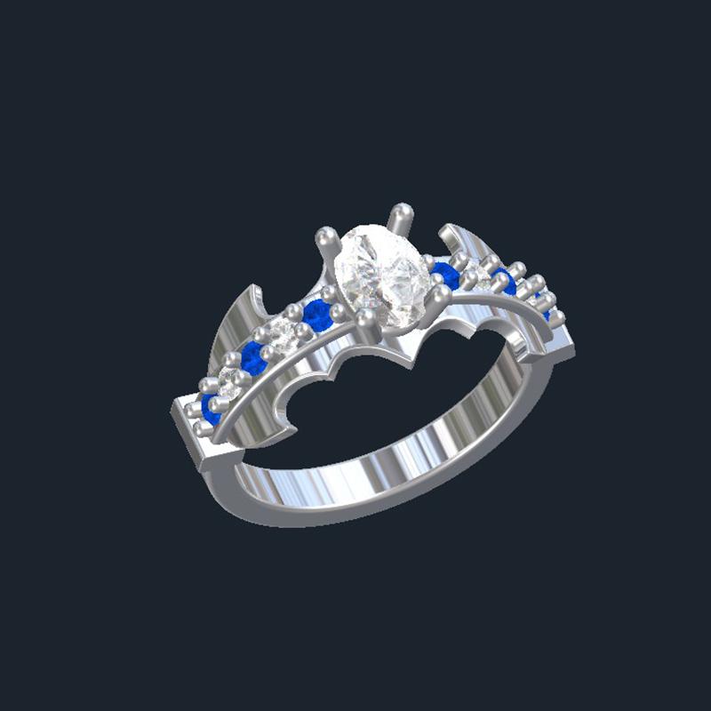 Forever One Moissanite Engagement Rings -Batman Engagement Ring
