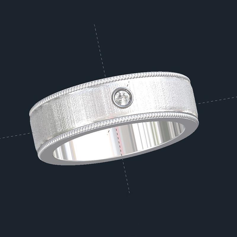 Textured Diamond Wedding Ring