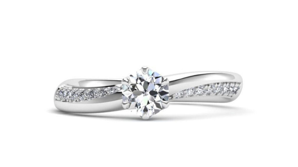 Asymmetrical 6 Prong Engagement Ring