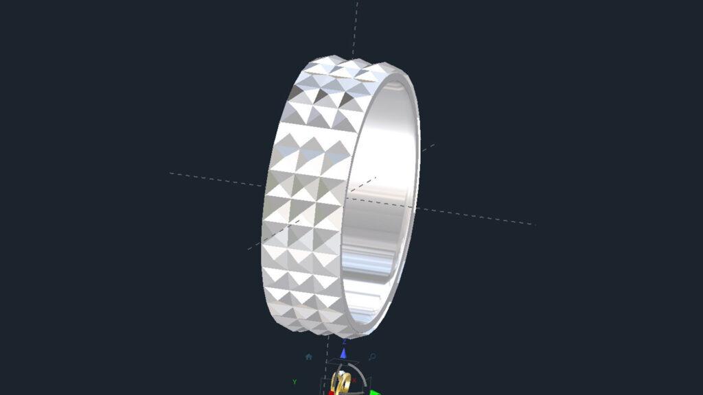 3D Pyramid Wedding Ring