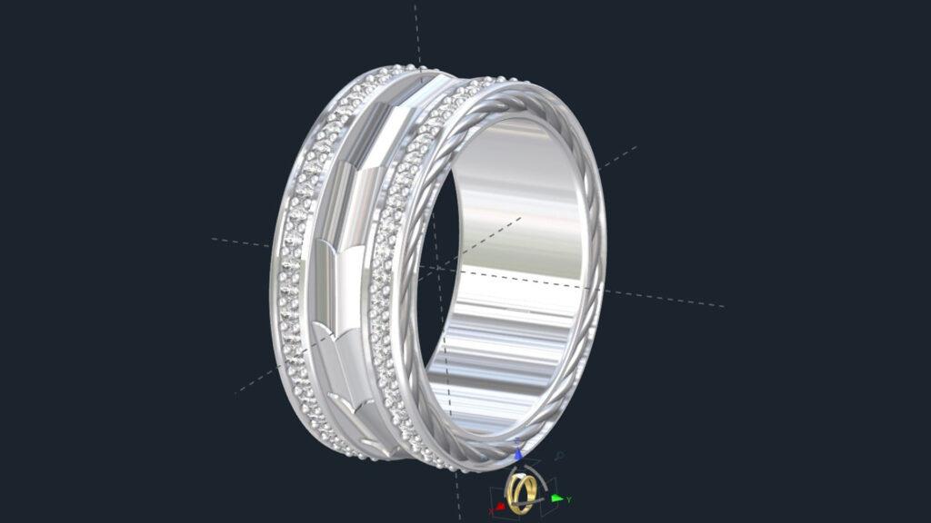 Men's Diamond Armor Plate Wedding ring