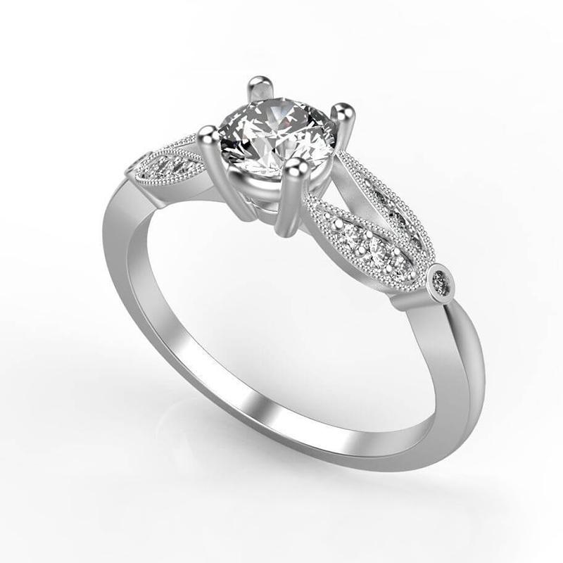 Split Shank Floral Engagement Ring