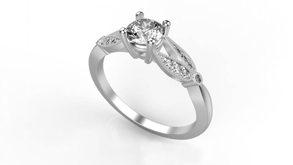 Floral Split Shank Engagement Ring