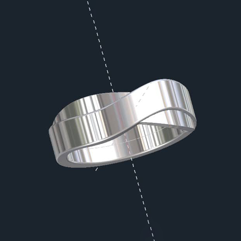 Unisex Crossover Wedding Ring