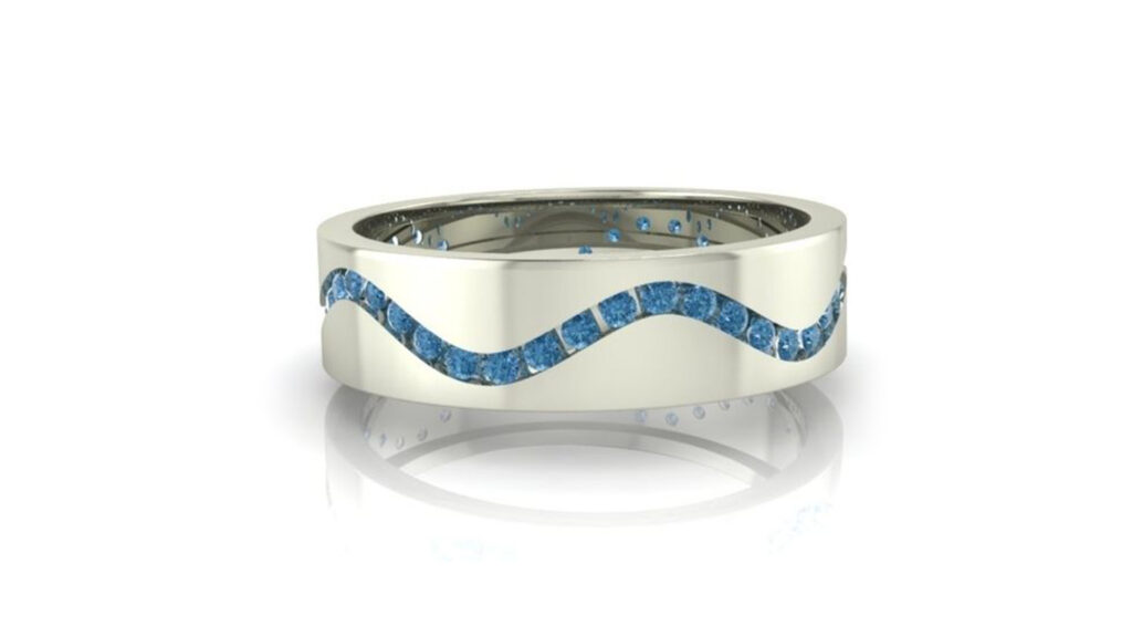 Wavy Channel Diamond Wedding Ring