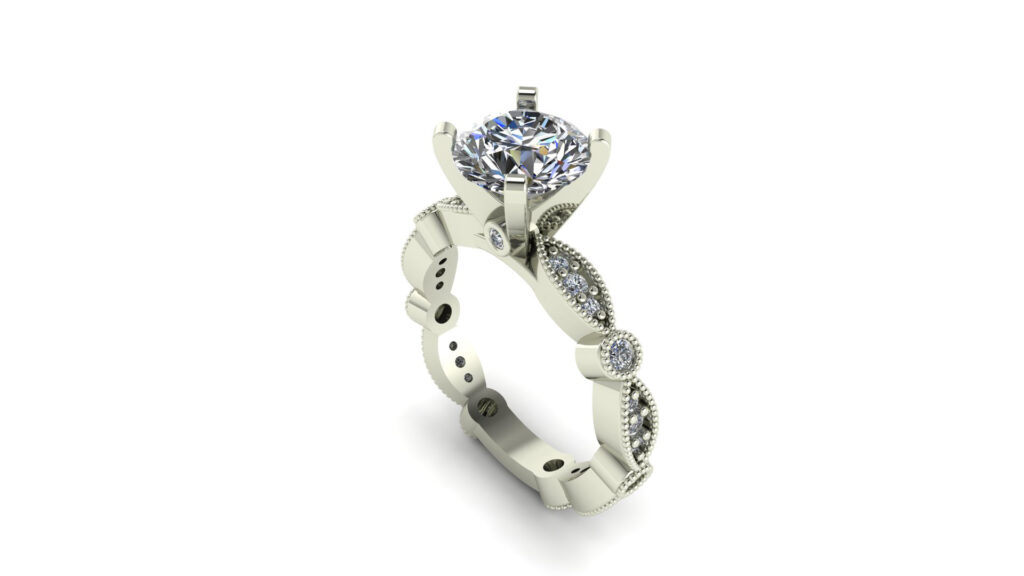 Art Deco Moissanite Engagement Ring