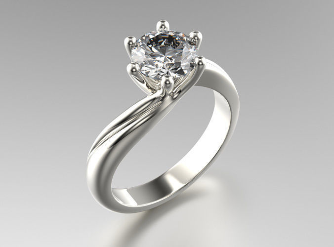 Sculptural 6 Prong Solitaire Engagement Ring