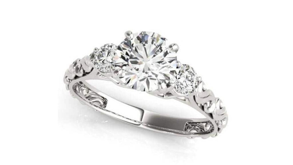 Asymmetrical Three Stone Engagement Ring