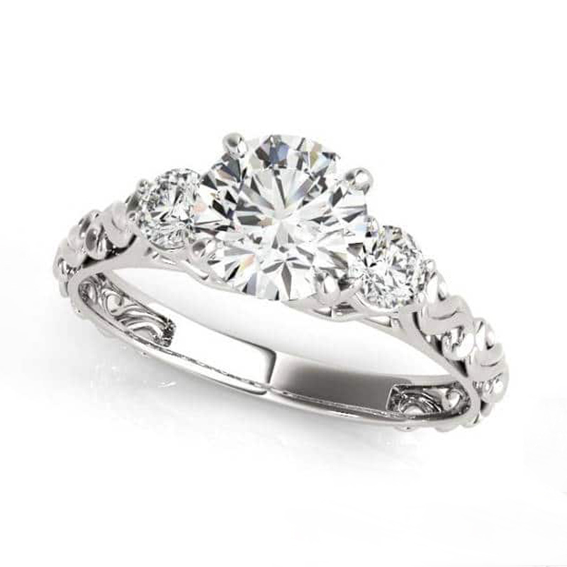 Ornate Three Stone Engagement Ring