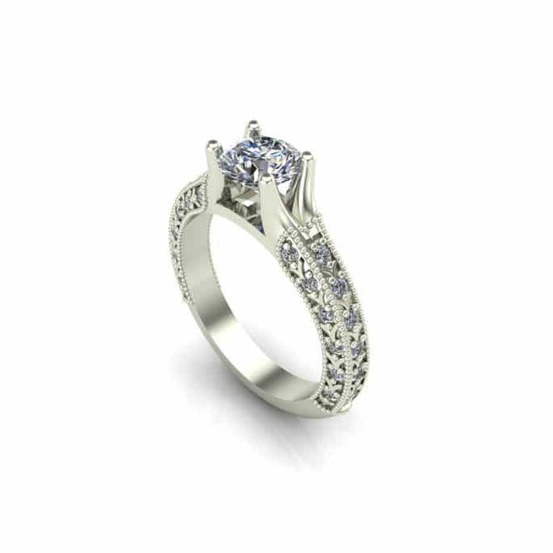 Milgrained Art Deco Engagement Ring