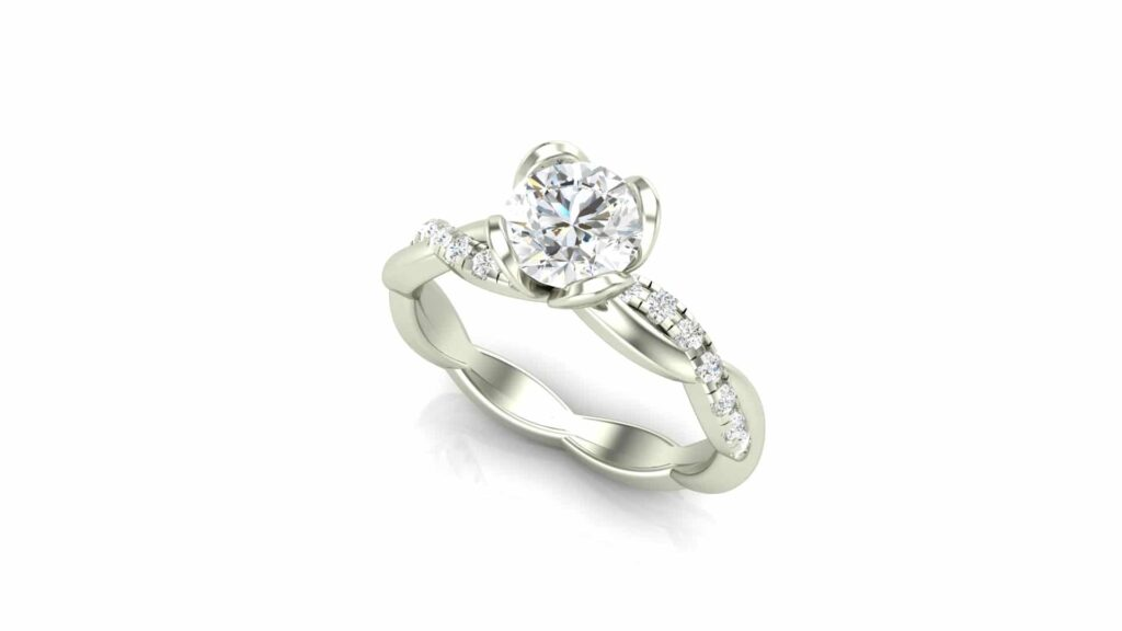 Forever One Moissanite Engagement Rings – Crossover Floral Engagement Ring