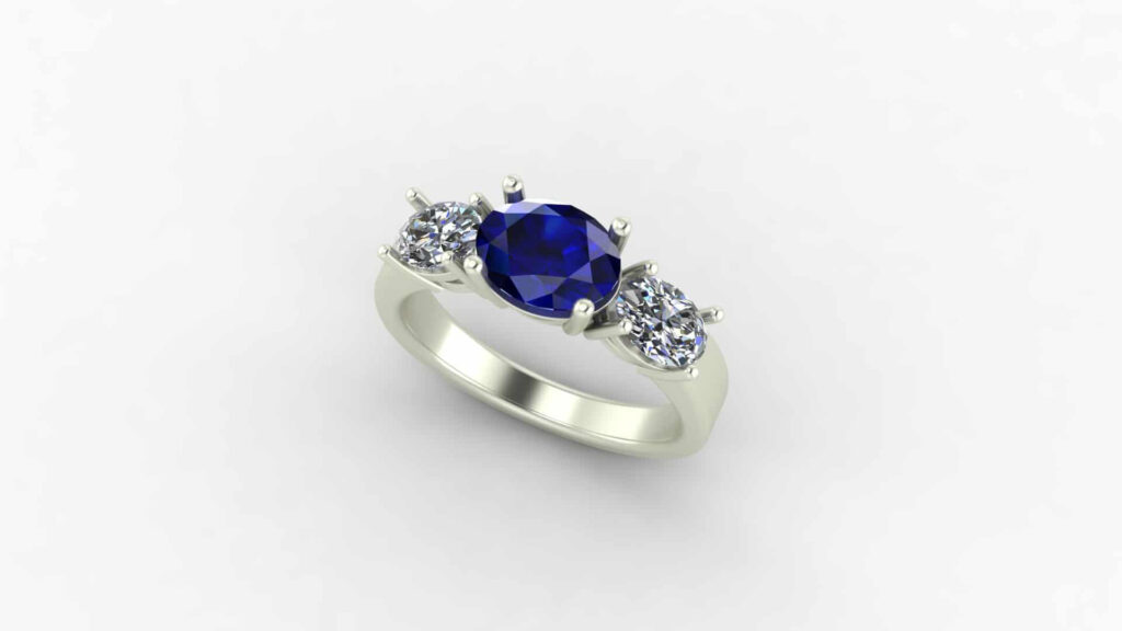 East West 3 Stone Engagement Ring