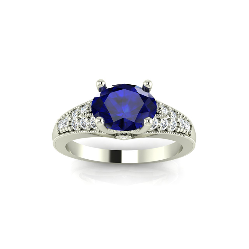 East West Oval Engagement Ring