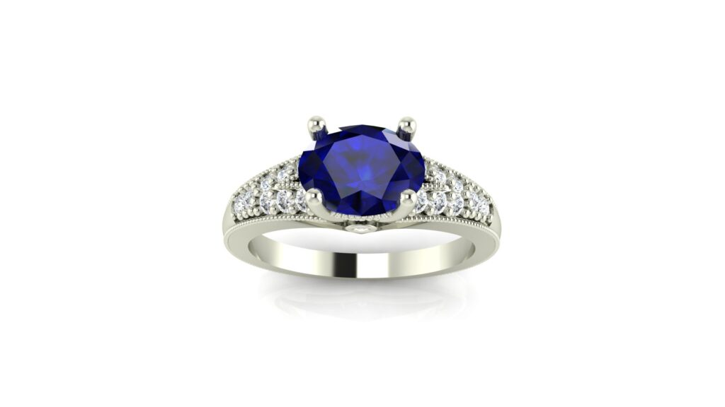Hand Engraved Split Shank Sapphire Engagement Ring