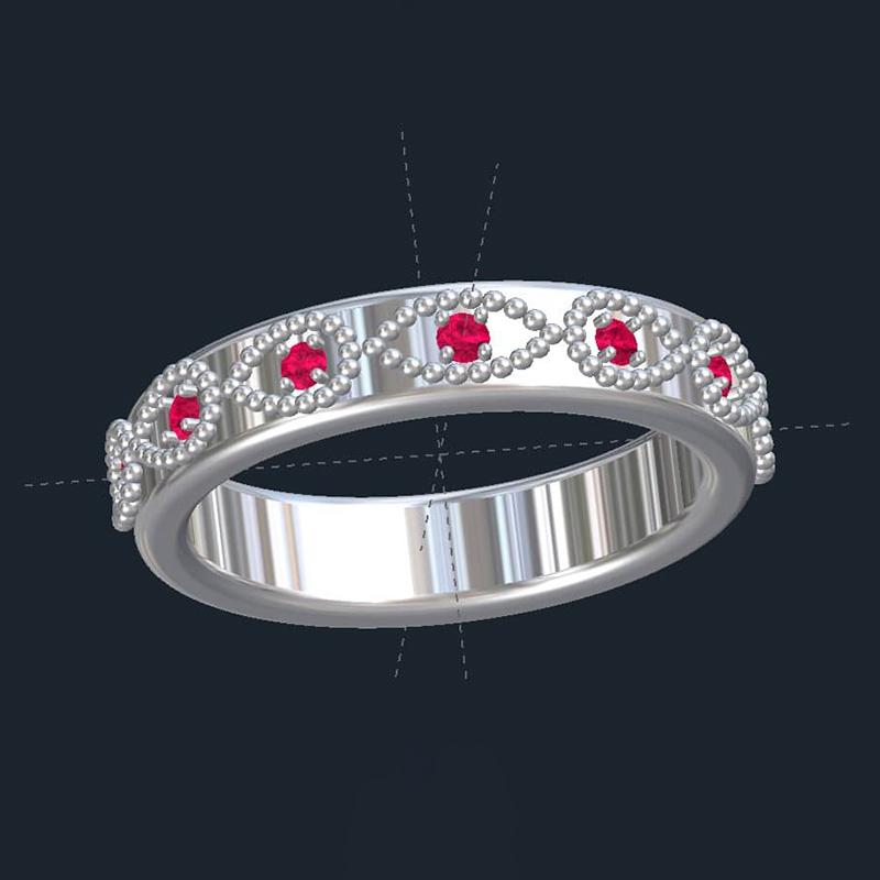 Milgrain & Ruby Wedding Ring