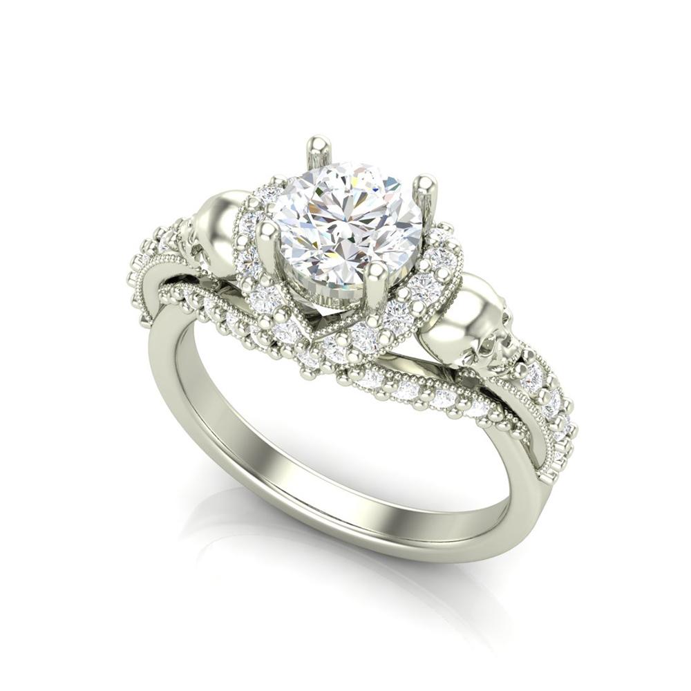 V Halo Skull Engagement Ring