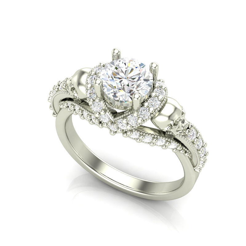 Halo Skull Engagement Ring