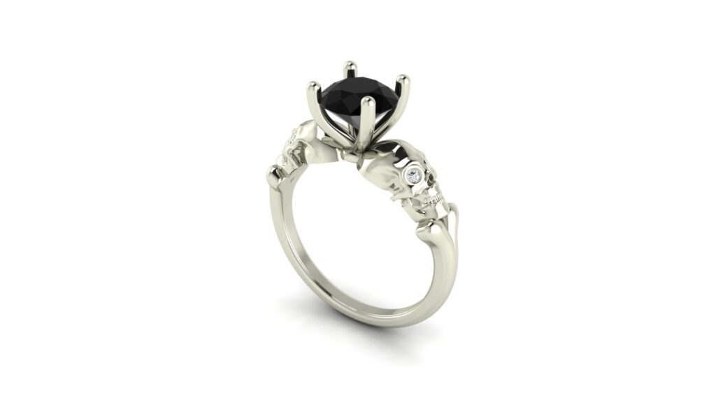 Black Diamond Skull Customized Engagement Rings
